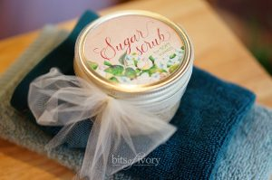 Sugar Scrub in jar with printable lid cover