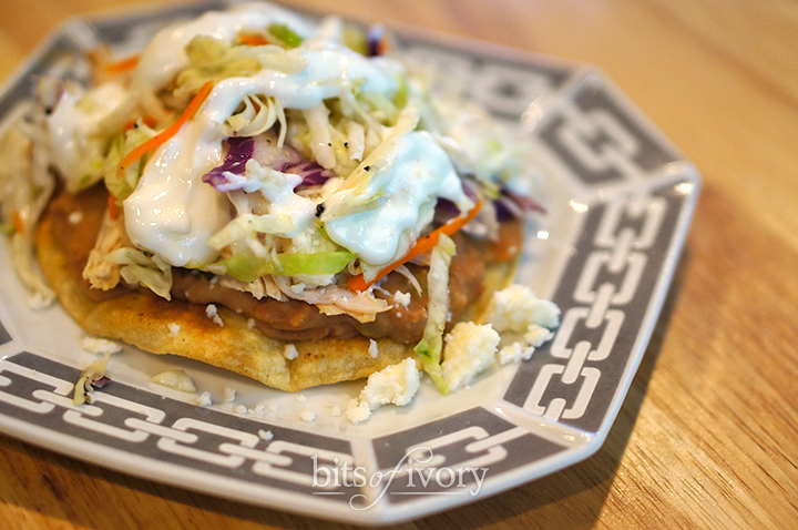 Chicken tostadas with spicy cabbage slaw
