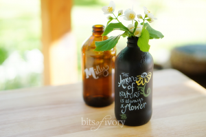Chalkboard bottles painted with chalkboard paint from bitsofivory.com