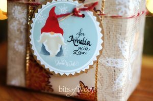 Wrapped Christmas Gift with Printable Tag - Danish Nisse