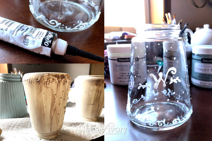 Preparing glass jars for chalk paint by adding texture using relief outliner