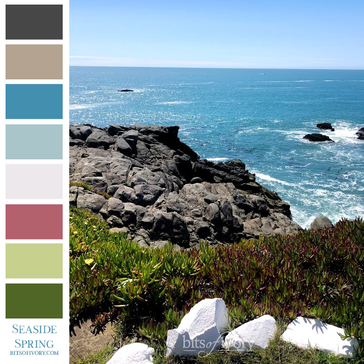 Ocean shore photo with color swatches