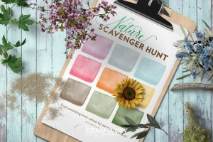 Printable Nature Scavenger Hunt with leaves and flowers