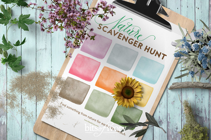Photo of a nature scavenger hunt with color blocks