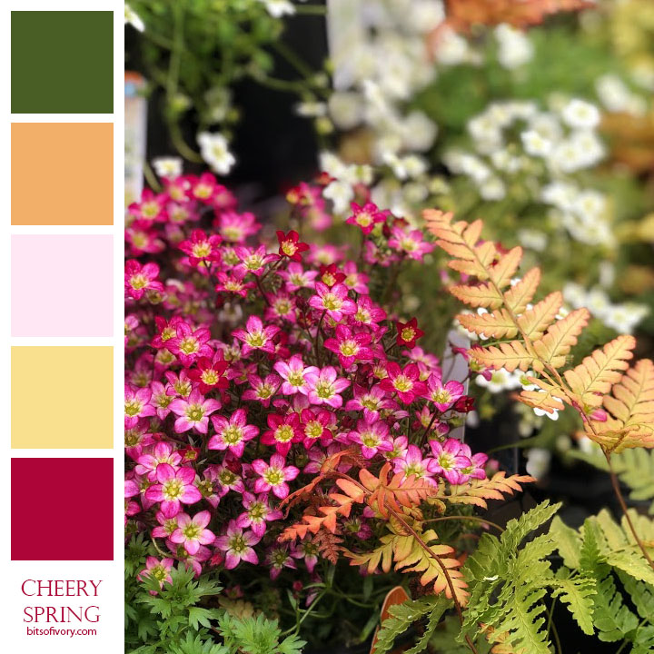 Flowers with matching color swatches