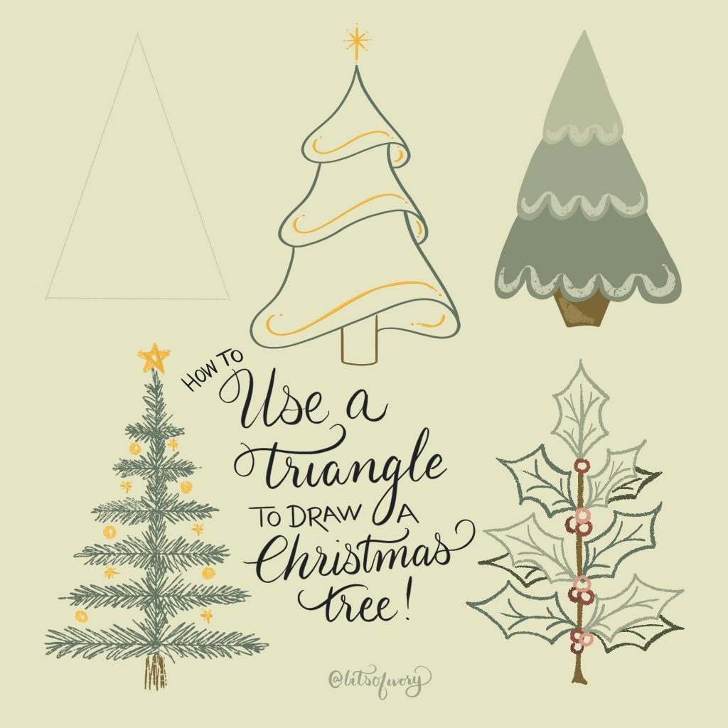 How to use a triangle to draw a Christmas tree with illustrations