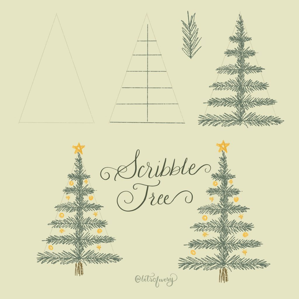 Draw scribble Christmas trees step-by-step illustration
