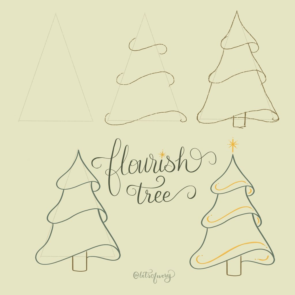 Draw flourish Christmas trees with step-by-step illustration